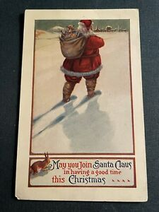 Antique 1907-1915 Divided Back Christmas PC Unused UNIQUE VIEW SANTA From Back