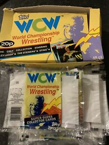 TOPPS IRELAND 1992. WCW WRESTLING. EMPTY COUNTER DISPLAY BOX & 20 Empty Wrappers