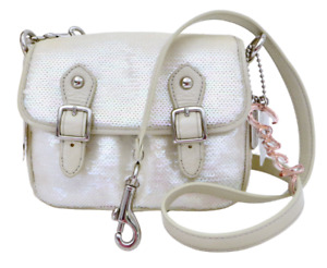 New NWT 16315 Coach Poppy Sequined White Opal Silver Crossbody or Clutch Purse