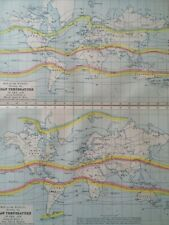 1871 Original Antique World Map showing Mean Temperature of the Air Meteorology