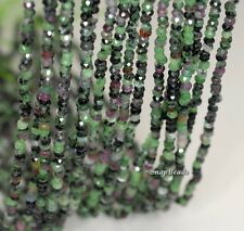 """3X2MM  RUBY ZOISITE GEMSTONE GRADE AB FACETED RONDELLE 3X2MM LOOSE BEADS 16"""""""
