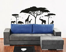 Vinyl Wall Decal Sticker Bedroom Safari Africa Animals Trees Dorm Gift r1522