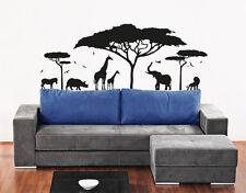 Vinyl Wall Decal Sticker Bedroom Safari Africa Animals Trees Dorm Gift r1522