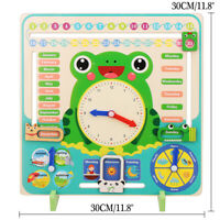 Kid Wooden Frog Clock Calendar Date Weather Board Learning Educational Toys  !