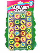 26pc Alphabet Letter Large Stamp Set Coloured Ink Art Craft Self Inking 13mm