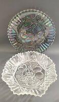 "Vtg Federal Carnival Glass Iridescent Pioneer Smokey 10.5"" Fruit Platter Set"