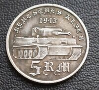 5 RM 1943 TIGER PANZER DIVISION TANK GERMAN COLLECTORS COINS WW2