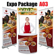 Expo Package A03 - Promotional Counter Kiosk Roll Up Banner Stand FREE Printing