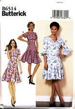 BUTTERICK SEWING PATTERN 6514 MISSES SZ 6-14 PANELLED DRESS W/ SLEEVE VARIATIONS