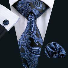 Paisley Krawatte Herren Seide Blau Schwarz Klassische formale Krawatte N-0981