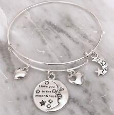 I Love You to The Moon and Back Silver charm Expandable Bangle Bracelet