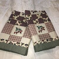 Patchwork Quilted Pillow Sham Set of 2 Standard Green Cranberry Plaid Berries