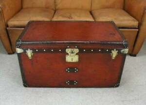 Antique Leather Trunk Handmade Box Finest Craftsmanship HANDMADE Decorative Item
