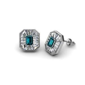 London Blue Topaz Diamond 1 1/4 ctw Women Halo Stud Earrings Gold JP:241991