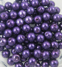 Wholesale 100Pcs purple Glass Pearl Round Spacer Loose Beads 4mm