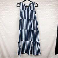 J Crew Women Dress Sz S Blue White Striped Tiered Sleeveless Maxi Nautical Boho