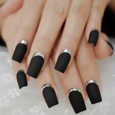 False Nails Matte Black red long French Manicure 24 Fake Medium Tips uk