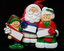 Personalized Mr & Mrs Santa Claus one Elf 3 Packages Family Christmas Ornament