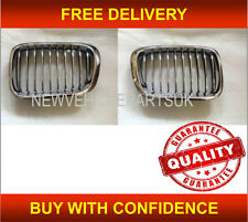 BMW 3 E46 SALOON/TOURING 1998-2001 FRONT KIDNEY GRILLE BLACK & CHROME - PAIR