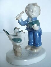 Boy Conducting Birds GDR Porcelain Blue White Figurine