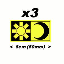 Valentino Rossi Sticker 3 x FLUORESCENT Yellow SUN MOON 60mm pegatinas adhesivos