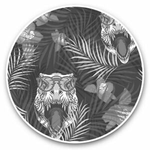2 x Vinyl Stickers 20cm (bw) - Funny Tropical T Rex Dinosaur Joke Dino  #43668