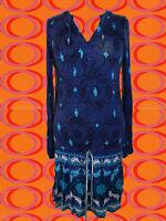 G41✪ Indian Hippie Spirit Gipsy Long Tunika Kleid Boho blau türkis Gr. 36