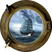 Huge 3D Porthole Fantasy Pirate Ship View Wall Stickers Film Decal 500