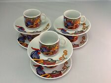 2 oz Cuban Espresso coffee cup set. 12 pc cup and saucer. Cafe Cubano Rooster