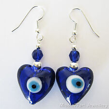 Evil Eye Millefiori Blue White Glass Heart Silver Plate Women's Earrings