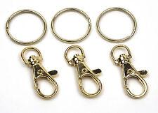 Karabinerhaken mit 26mm Schlüsselring Schlüsselanhänger vermessingt Farbe: gold