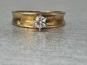 Vintage (1980) 9ct Gold (0.2ct) Brilliant Cut Diamond Solitaire- 41 years old an