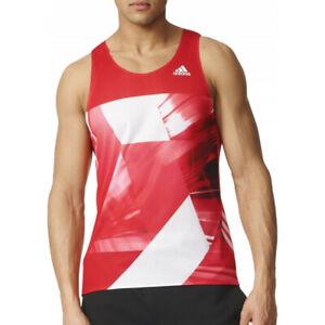 adidas Adizero Mens Running Singlet - Red - S93579
