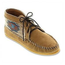 NEW MINNETONKA EL PASO WOMENS US6.5 UK4W/4.5 BROWN LACE UP ANKLE BOOT MOCCASINS
