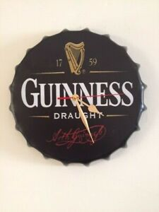 New retro vintage metal bottle top wall clock 30cm Guinness