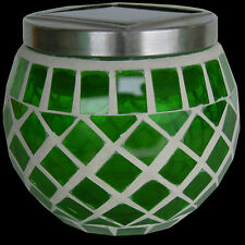 SuperLED + Solar Garden Mosaic Jar Lights, Red , Green, Blue & Gold - NEW EFFECT