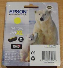 GENUINE EPSON T2634 Yellow cartridge airtight ORIGINAL 26XL OEM POLAR BEAR ink