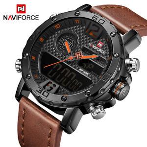 NAVIFORCE Men Quartz LED Digital Watch Waterproof Luxury Leather Sports Watches