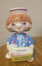 "Bobble Babes Nurse ""This Won't Hurt a Bit"" coin bank multicolor 8 inches"