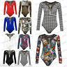 Ladies Women's FRONT & BACK 1/2 Mesh Stretch Bodysuit Leotard Body Top 8-14
