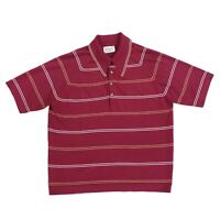 VINTAGE DONEGAL COLESETA POLO SHIRT ATOMIC ROCKABILLY MENS SZ LARGE STRIPED RED