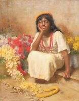 """perfect 24x36oil painting handpainted on canvas """"a little girl and flowers""""N3384"""