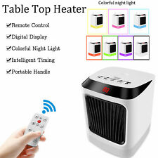 Quiet Portable Electric Ceramic Space Fan Home Bedroom Timed Anti Burning Heater