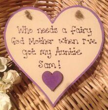 Personalizzata in LEGNO CUORE TARGA MUM Nanny Daddy Auntie qualsiasi nome BESPOKE keepsak