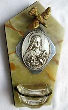 Bénitier Oiseau porte-buis, marbre, médaillon métal: Sainte Thérèse de Lisieux
