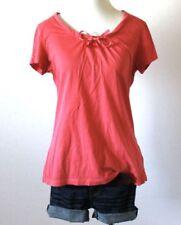 L.L. BEAN Women's Bow Scoop Neck Short Sleeve Stretch Knit T Shirt Top Blouse S
