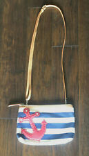 New ListingBrighton small crossbody nautical stripe canvas leather purse bag anchor design