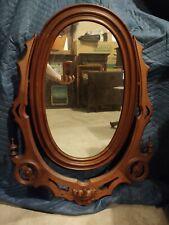New listing Antique Walnut or Mahogany Victorian Oval Mirror