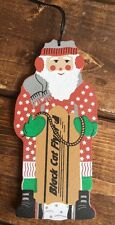 Cats Meow Village 1999 Sledding Santa Wood Ornament Annual 1st In Series Lmt Ed