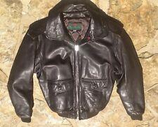 Stylish Abercrombie & Fitch Slant Rock Brown Bomber Leather Jacket Sz 40